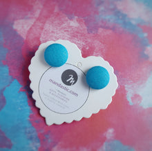 Turquoise-Blue, Cotton, Fabric Button, Stud Earrings, Small pair