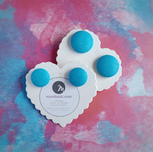 Turquoise-Blue, Cotton, Fabric Button, Stud Earrings, 2 pairs