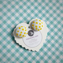 Yellow on White, Polka-dots, Fabric Button, Stud Earrings
