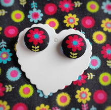 Black and Red, Floral, Fabric Button, Stud Earrings, Large pair