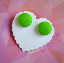 Green, Fabric Button, Stud Earrings, Large pair