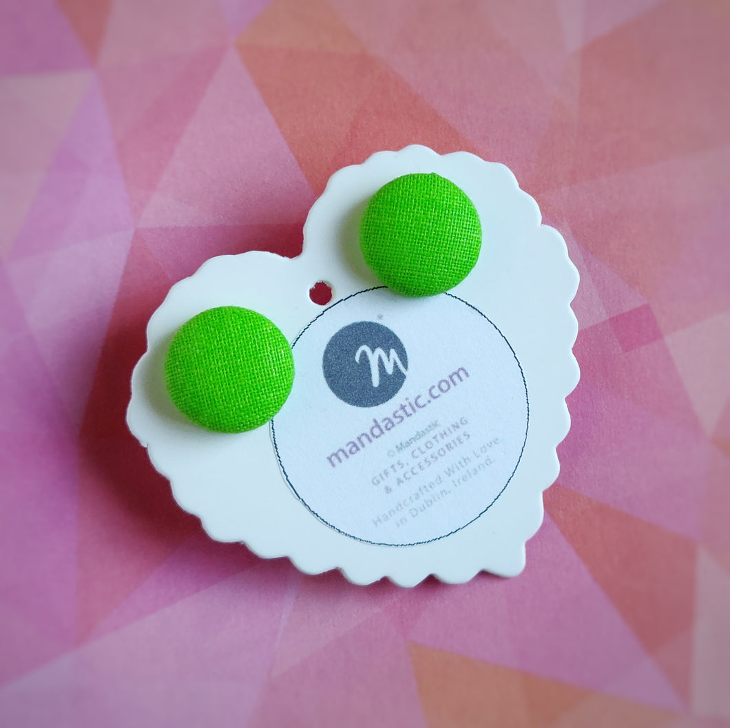 Green, Fabric Button, Stud Earrings, Small pair