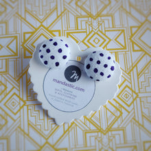 Purple on White, Polka-dots, Fabric Button, Stud Earrings
