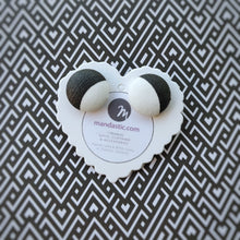 Black and White, Vegan leather, Fabric Button, Stud Earrings, Large pair