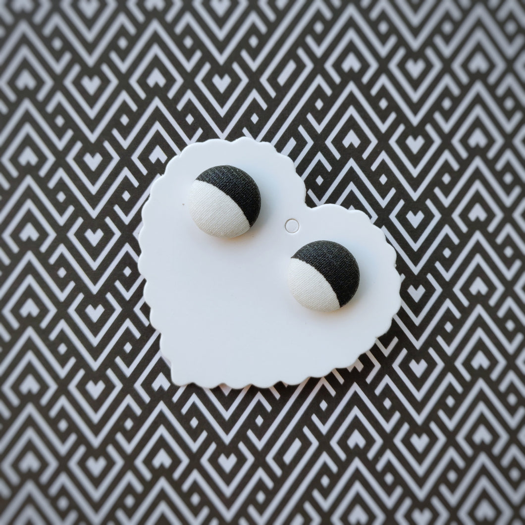 Black and White, Vegan leather, Fabric Button, Stud Earrings, Small pair
