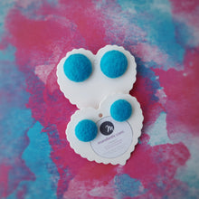 Turquoise-Blue, Felt, Fabric Button, Stud Earrings, 2 pairs