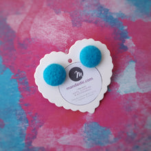 Turquoise-Blue, Felt, Fabric Button, Stud Earrings, Small pair