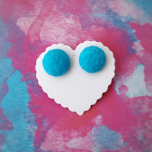 Turquoise-Blue, Felt, Fabric Button, Stud Earrings, Large pair