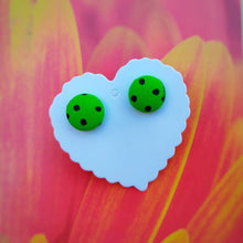 Black on Green, Polka-dots, Fabric Button, Stud Earrings, Small pair