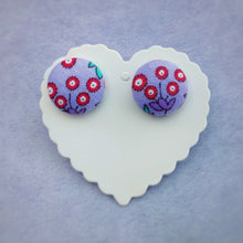 Purple and Red, Floral, Fabric Button, Stud Earrings, Large pair, Dianthus