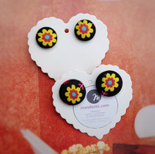 Black and Yellow, Floral, Fabric Button, Stud Earrings, 2 pairs