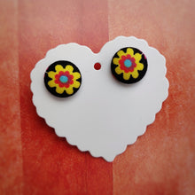 Black and Yellow, Floral, Fabric Button, Stud Earrings, Small pair
