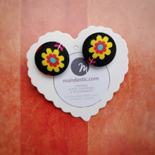 Black and Yellow, Floral, Fabric Button, Stud Earrings, Large pair