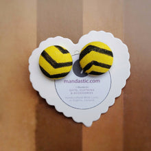 Black and Yellow, Zig Zag, Fabric Button, Stud Earrings