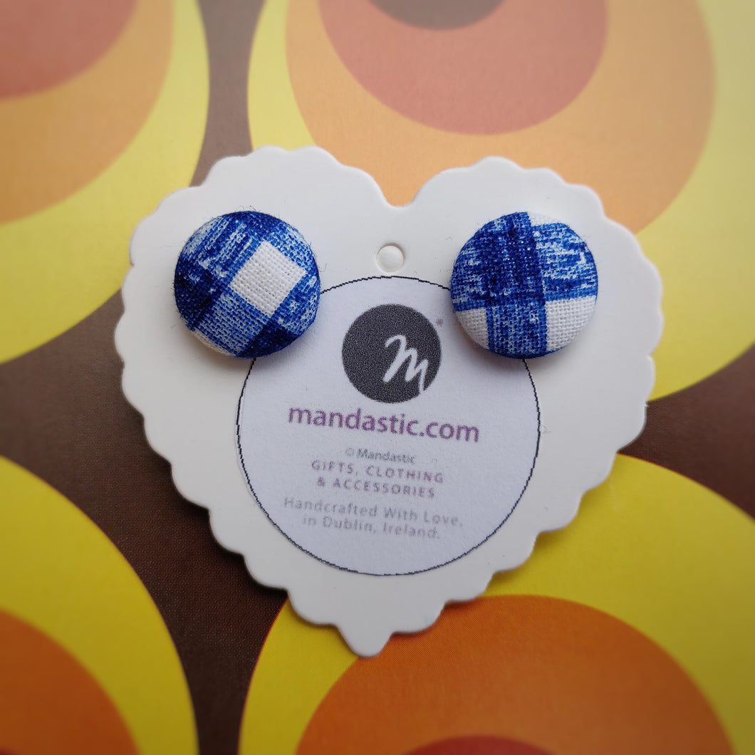 Blue and White, Plaid, Gingham check, Fabric Button, Stud Earrings, Small pair