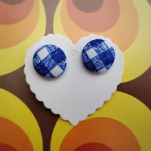 Blue and White, Plaid, Gingham check, Fabric Button, Stud Earrings, Large pair
