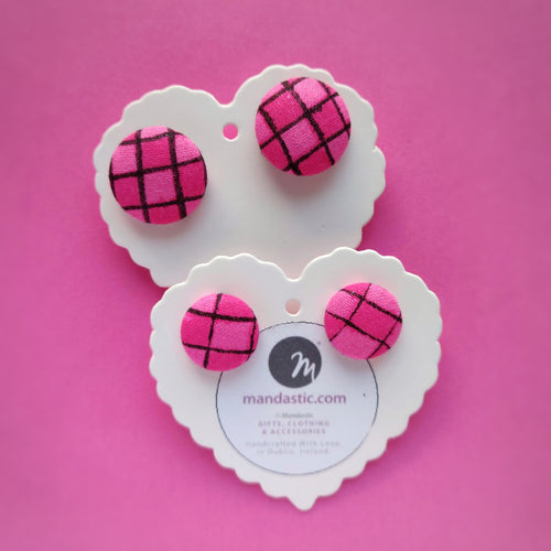 Pink and Black, Plaid, Gingham check, Fabric Button, Stud Earrings, 2 pairs