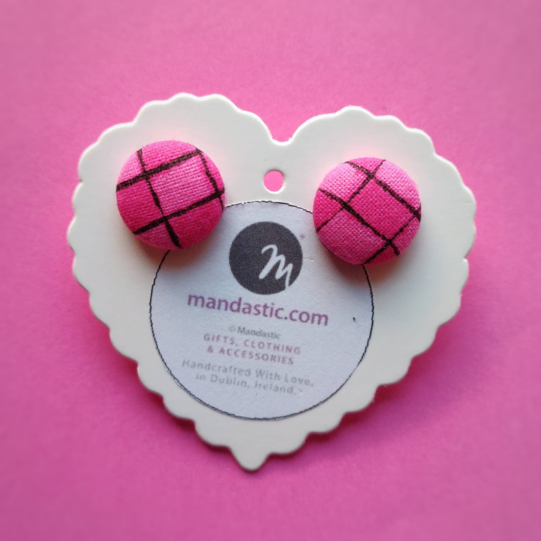 Pink and Black, Plaid, Gingham check, Fabric Button, Stud Earrings, Small pair