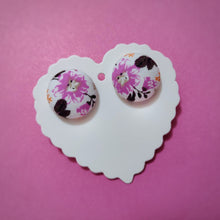 White and Purple, Floral, Fabric Button, Stud Earrings, Large pair, Purple Hibiscus