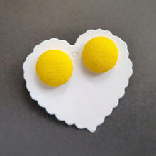 Fabric Button, Stud Earrings, Large pair, Yellow background