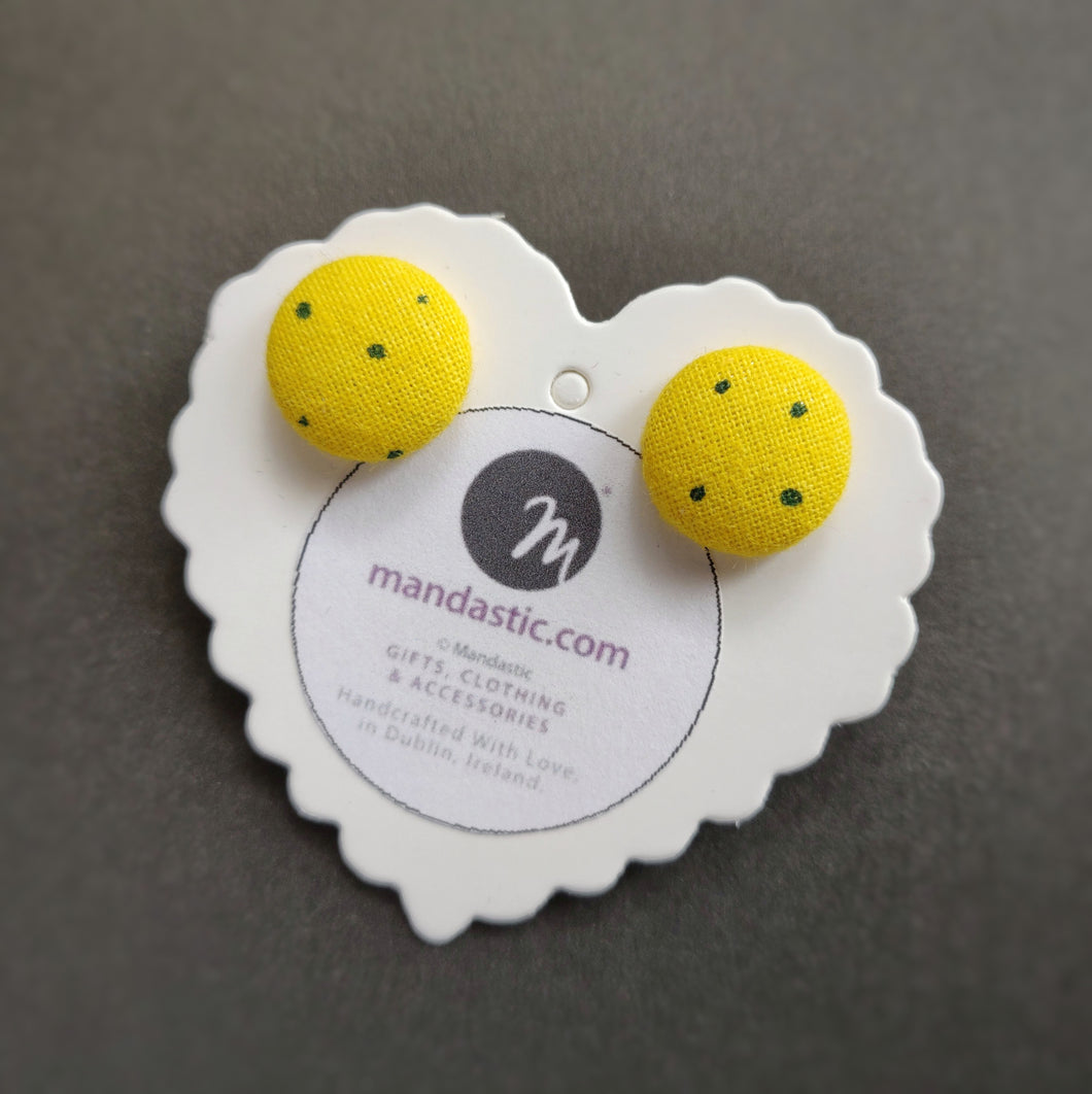 Black on Yellow, Polka-dots, Fabric Button, Stud Earrings, Small pair