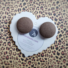 Brown, Textured, Fabric Button, Stud Earrings, Large pair