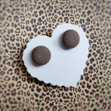 Brown, Textured, Fabric Button, Stud Earrings, Small pair