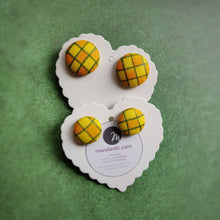 Yellow, Orange and Green, Plaid, Gingham check, Fabric Button, Stud Earrings, 2 pairs