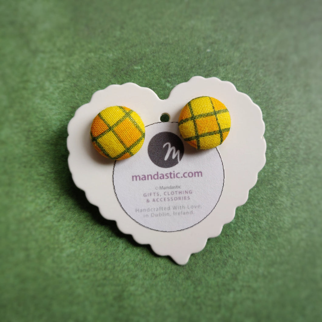 Yellow, Orange and Green, Plaid, Gingham check, Fabric Button, Stud Earrings, Small pair
