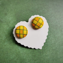 Yellow, Orange and Green, Plaid, Gingham check, Fabric Button, Stud Earrings, Large pair