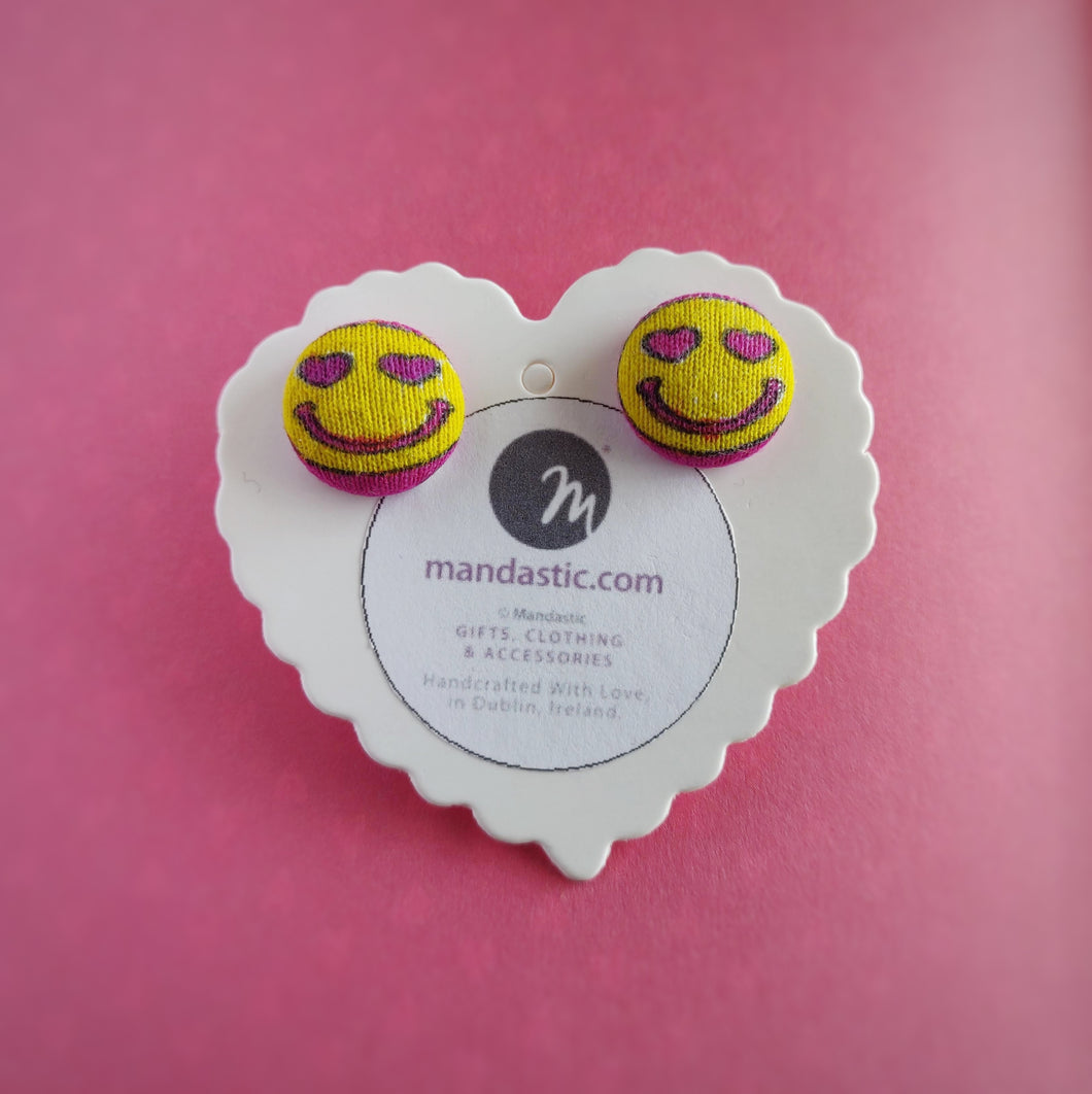 Pink and Yellow, Heart-Eyes, Smiling Face, Fabric Button, Stud Earrings