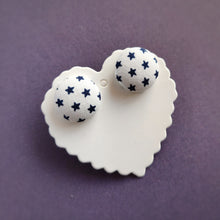 Blue on White, Stars, Fabric Button, Stud Earrings, Large pair