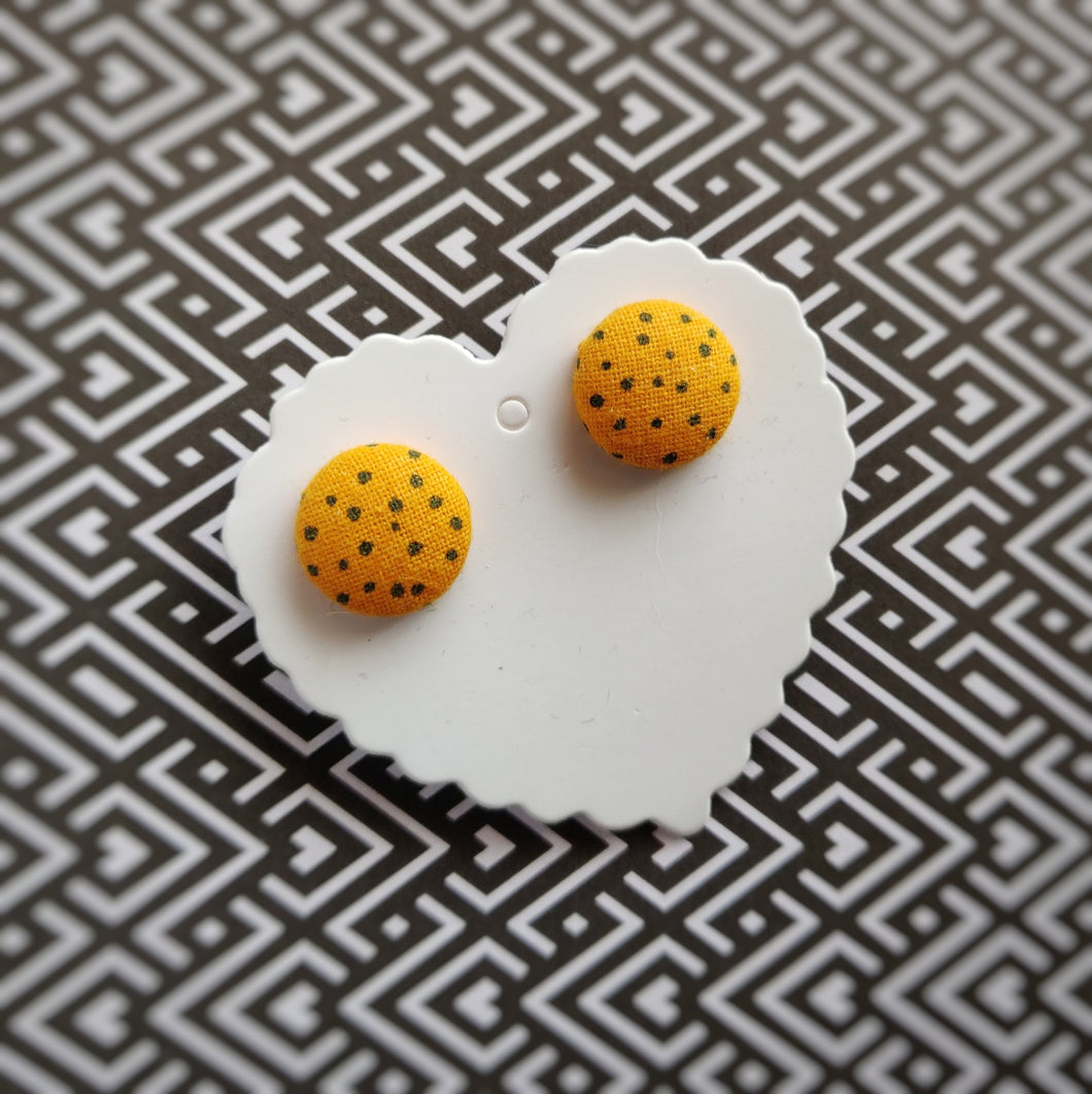 Black on Orange, Polka-dots, Fabric Button, Stud Earrings, Small pair