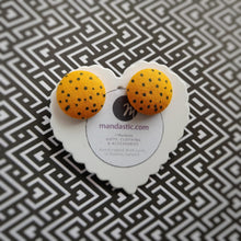 Black on Orange, Polka-dots, Fabric Button, Stud Earrings, Large pair