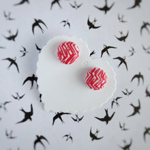 Red and White, Zig Zag, Fabric Button, Stud Earrings, Small pair