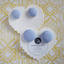 Light-blue and white, Striped, Fabric Button, Stud Earrings, 2 pairs