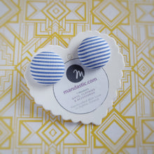 Light-blue and white, Striped, Fabric Button, Stud Earrings, Large pair