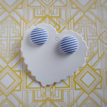 Light-blue and white, Striped, Fabric Button, Stud Earrings, Small pair