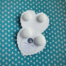 White, Vegan leather, Fabric Button, Stud Earrings, 2 pairs