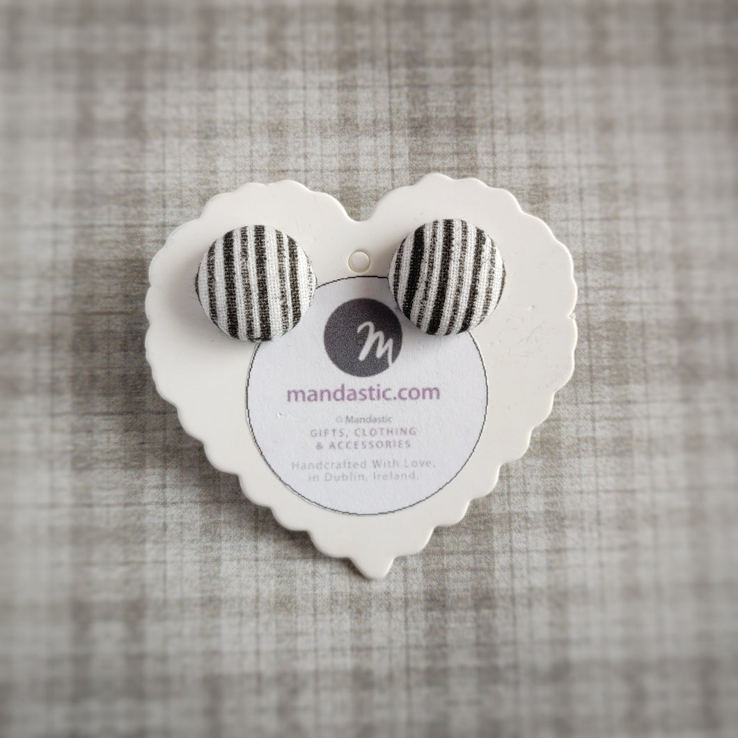 Black and White, Stripes, Fabric Button, Stud Earrings