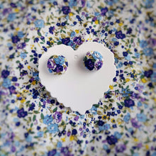Blue, Floral, Fabric Button, Stud Earrings, Small pair