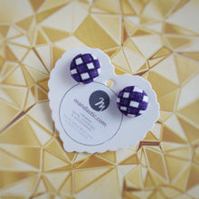 Purple and White, Plaid, Gingham check, Fabric Button, Stud Earrings, Small pair