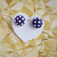 Purple and White, Plaid, Gingham check, Fabric Button, Stud Earrings, Large pair