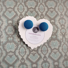 Steel-blue, Fabric Button, Stud Earrings, Small pair