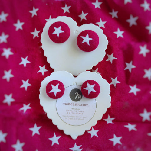 Stars, Fabric Button, Stud Earrings, 2 pairs, Hot-pink