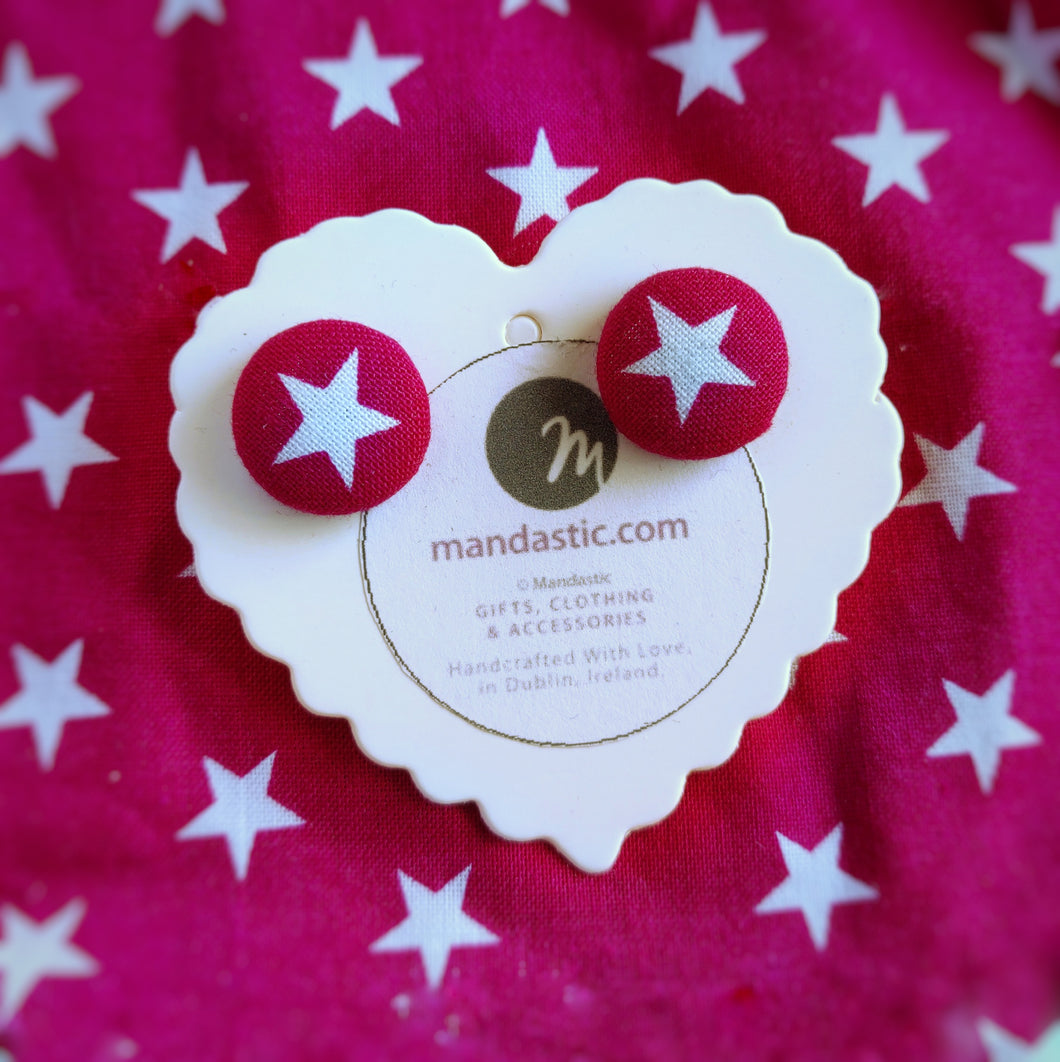 Stars, Fabric Button, Stud Earrings, Small pair, Hot-pink