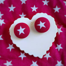Stars, Fabric Button, Stud Earrings, Large pair, Hot-pink