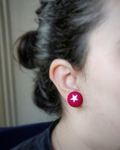 Stars, Fabric Button, Stud Earrings, Large pair, Hot-pink, Worn on ear