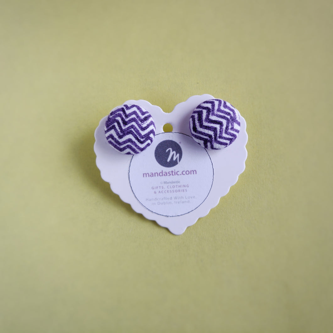 Purple and White, Zig Zag, Fabric Button, Stud Earrings, Large pair