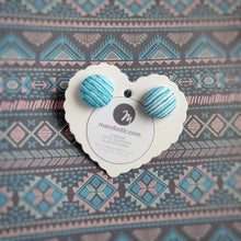 Turquoise and White, Stripes, Fabric Button, Stud Earrings, Small pair